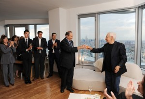 Developer and building owner Bruce C. Ratner toasts Frank Gehry on the 52nd floor of New York by Gehry. Photo: Philip Greenberg.