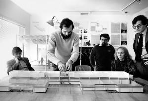 Renzo Piano and model of the Menil Collection. Peter Rice is at left.