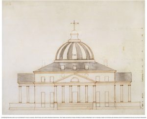 Thomas Jefferson's drawing for the President's House based on Palladio's Villa Rotonda